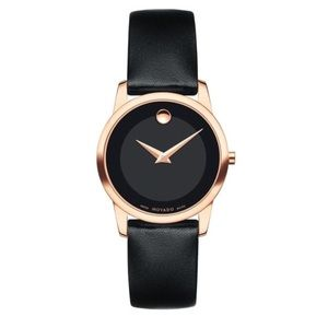 NWT Movado Museum Rose Gold Leather Strap Watch